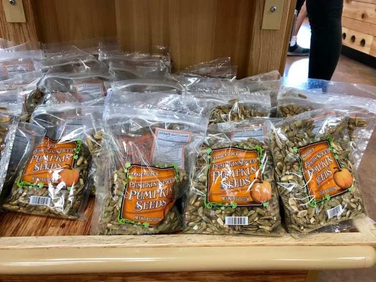 pumpkin spiced pumpkin seeds at Trader Joe's
