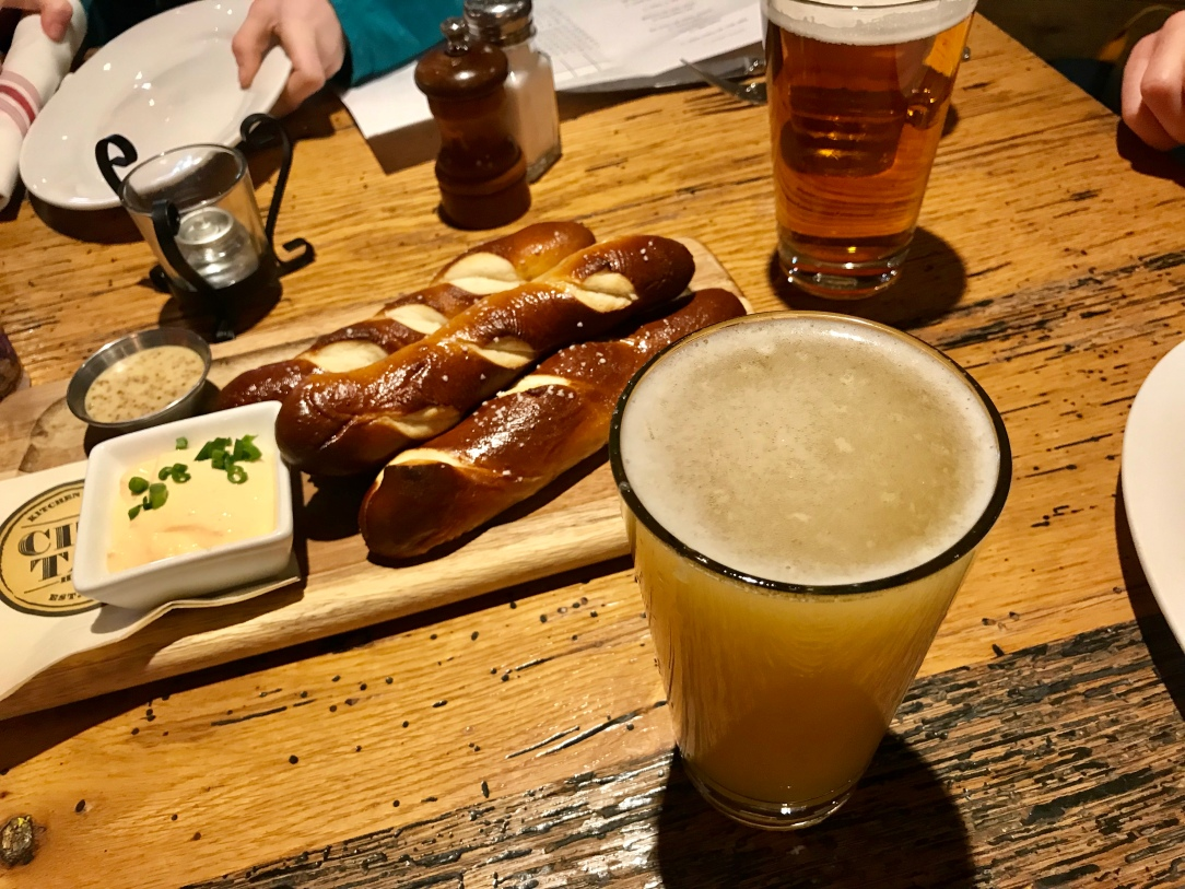 City tap room beermosa pretzels and beer cheese