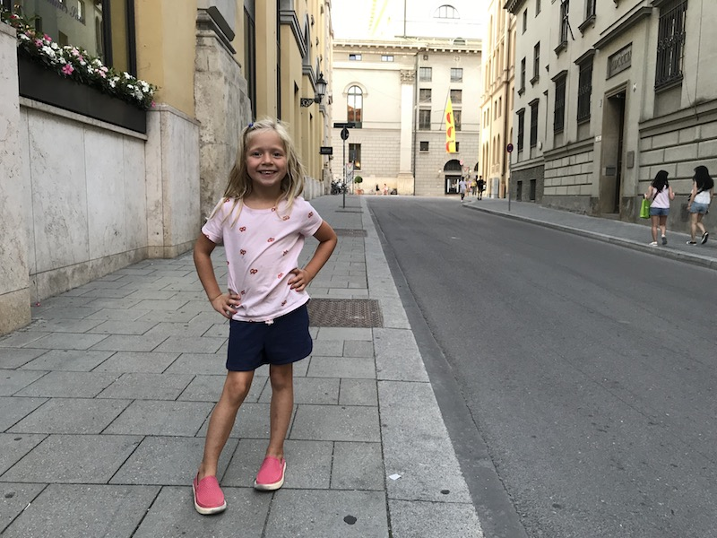 little girl in Munich street
