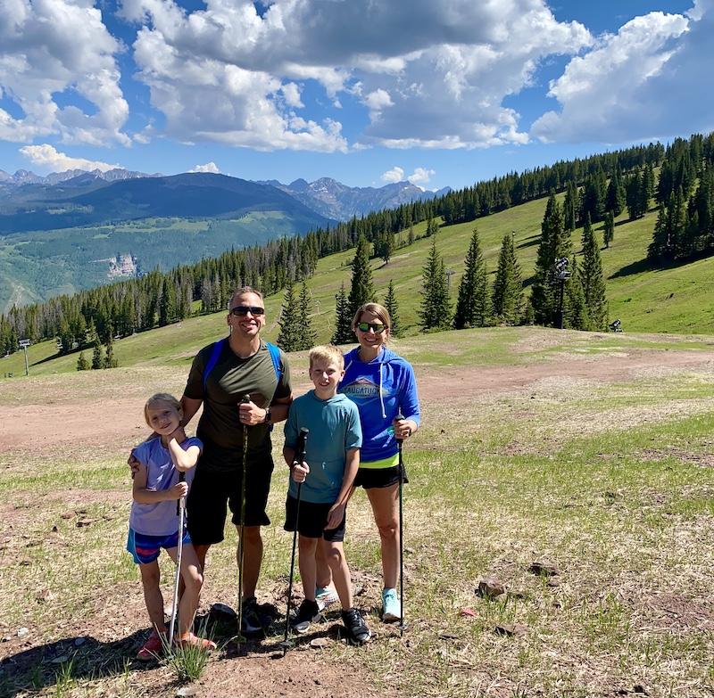 family hiking Vail Mountain